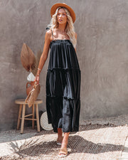 Catch The Sun Tiered Midi Dress - Black view 3