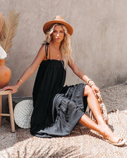 Catch The Sun Tiered Midi Dress - Black view 6