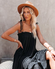Catch The Sun Tiered Midi Dress - Black view 9