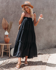 Catch The Sun Tiered Midi Dress - Black view 8