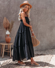 Catch The Sun Tiered Midi Dress - Black view 1