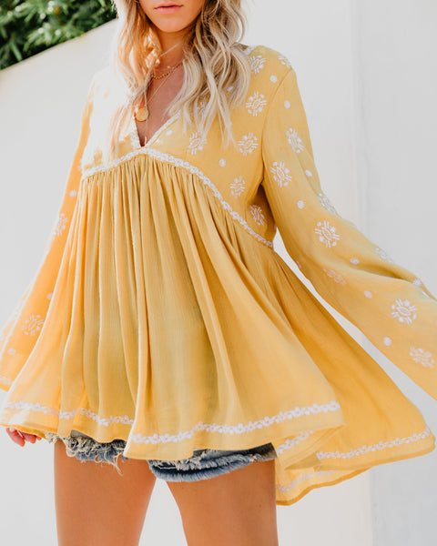 Catch The Sun Embroidered Tunic - Mustard