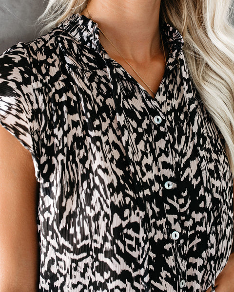 Catch Up Leopard Button Down Ruffle Top