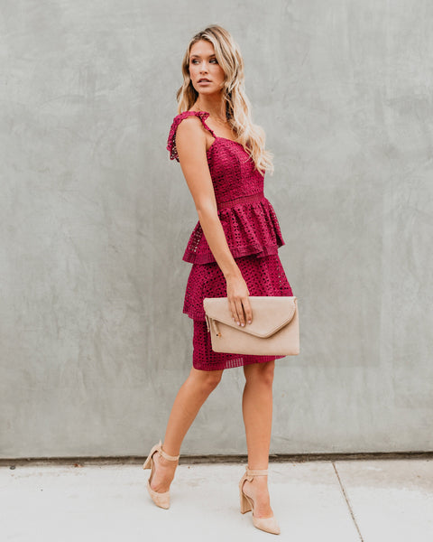 Caterina Tiered Crochet Lace Dress - Burgundy