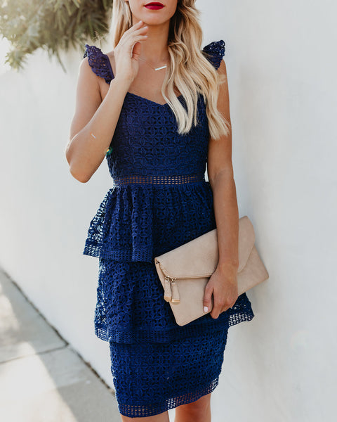 Caterina Tiered Crochet Lace Dress - Navy