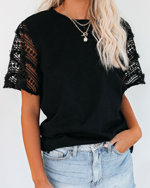 Caught Your Eye Crochet Sleeve Tee - Black