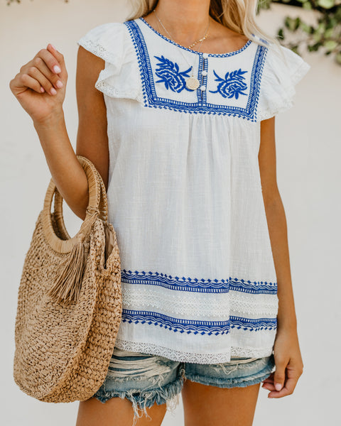 Cayman Island Cotton Embroidered Top - FINAL SALE