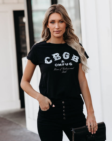 CBGB Cotton Distressed Tee - Black
