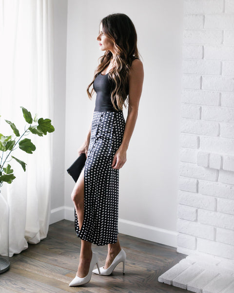 Cecily Polka Dot Satin Slit Midi Skirt