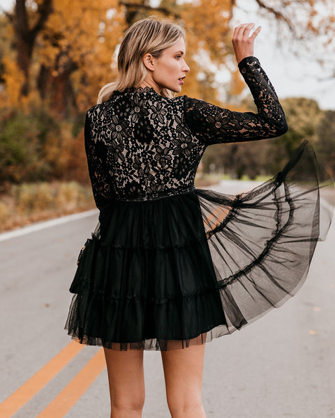 Celebrate Good Times Lace Tulle Dress - Black - FINAL SALE