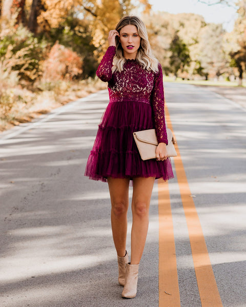 Celebrate Good Times Lace Tulle Dress - Wine - FINAL SALE