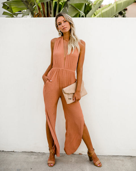 Celina Pocketed Jumpsuit - Apricot