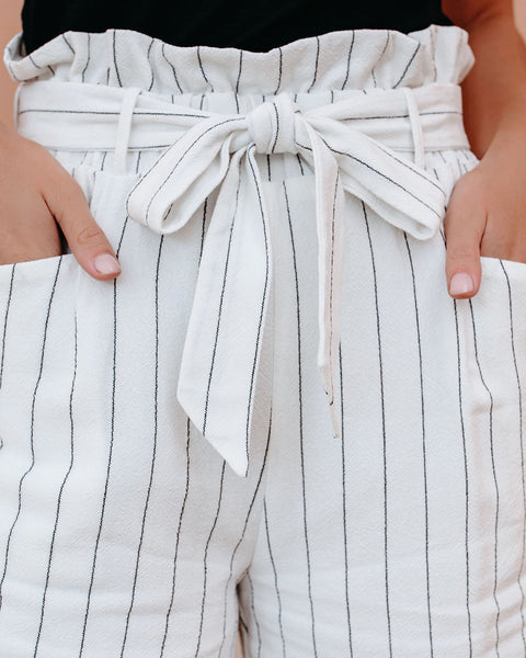 Century Cotton + Linen Pinstripe Pocketed Shorts