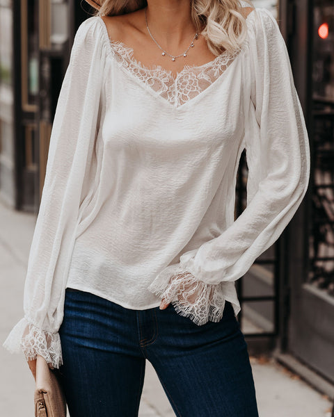 Chandelier Satin Lace Blouse - White - FINAL SALE