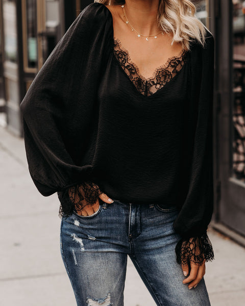 Chandelier Satin Lace Blouse - Black