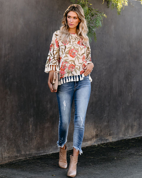 Chandra Floral Velvet Tassel Top - FINAL SALE