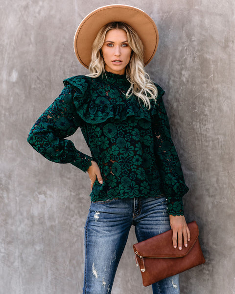 Change Is Beautiful Ruffle Lace Top - Green/Navy - FINAL SALE
