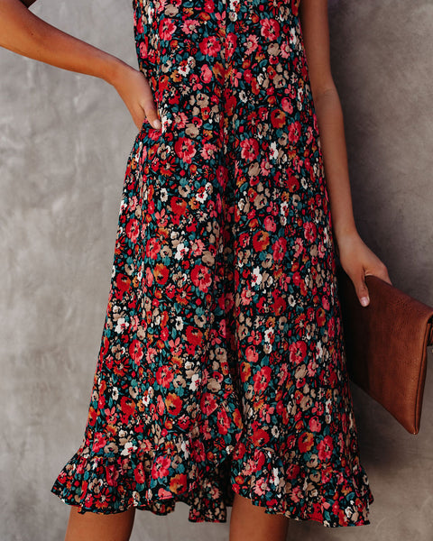 Change Of Heart Floral Ruffle Midi Dress