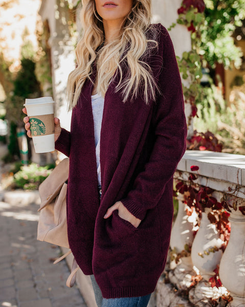 Changing Leaf Pocketed Cardigan - Mulberry