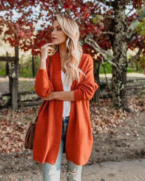 Changing Leaf Pocketed Cardigan - Sunset