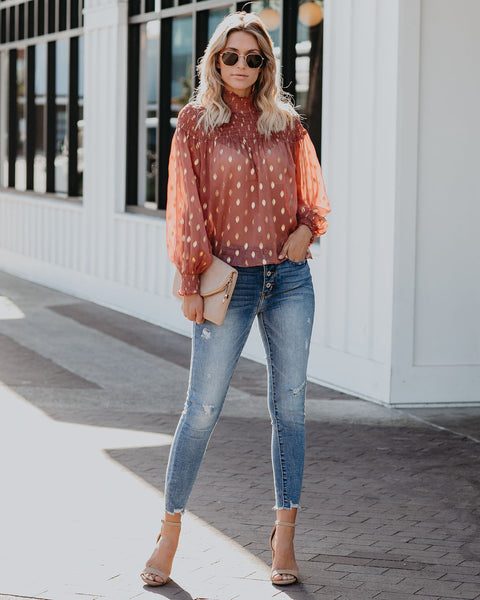 Chantelle Smocked Polka Dot Blouse