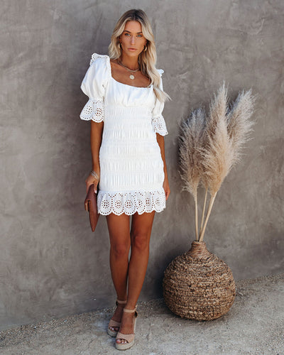Chariot Smocked Scalloped Eyelet Dress  - FINAL SALE