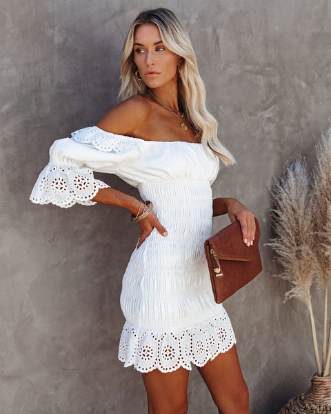 Chariot Smocked Scalloped Eyelet Dress