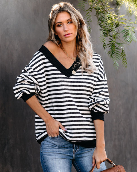 Charles Cotton Blend Striped Thermal Knit Top - FINAL SALE