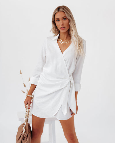 Cheers To Us Crinkled Tie Shirt Dress