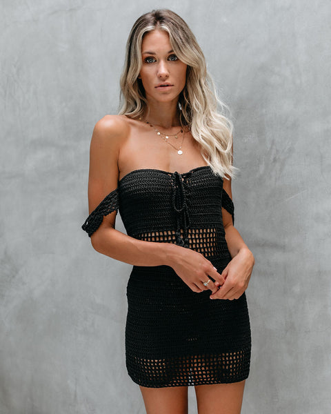 Cherish The Sun Cotton Crochet Tie Dress - Black - FINAL SALE
