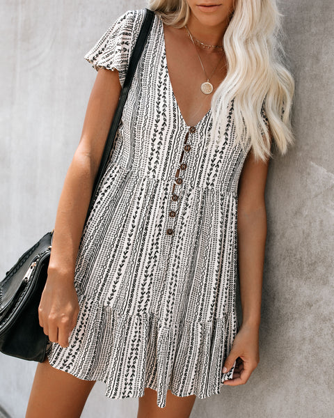 Cherokee Button Down Babydoll Dress - Beige