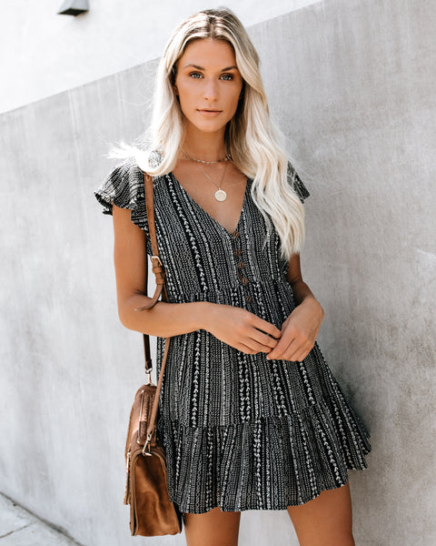 Cherokee Button Down Babydoll Dress - Black