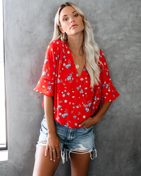 Cherry Bloom Floral Drape Blouse
