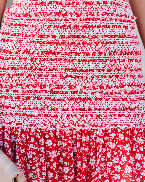 Cherry On Top Smocked Ruffle Tie Dress - FINAL SALE