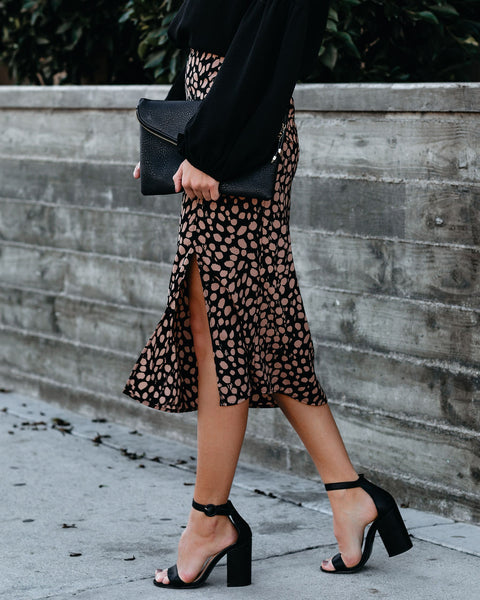 Chestnuts Popping Printed Midi Skirt - FINAL SALE