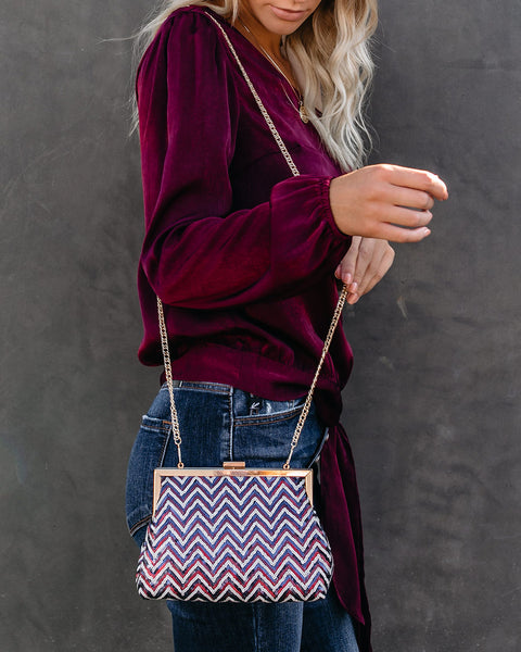 Chevron Sequin Crossbody Clutch - FINAL SALE