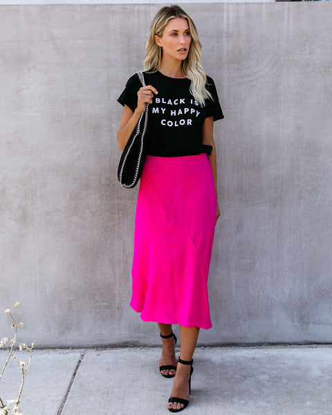 Chic As Ever Satin Midi Skirt - Fuchsia