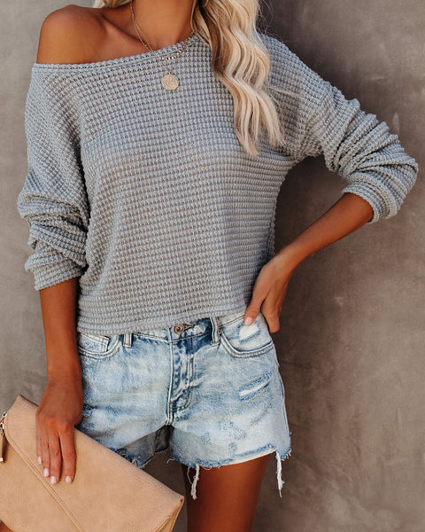 Chilly Nights Cropped Thermal Knit Top - Dark Grey