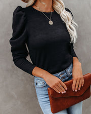 Chivalry Puff Sleeve Ribbed Knit Top - Black