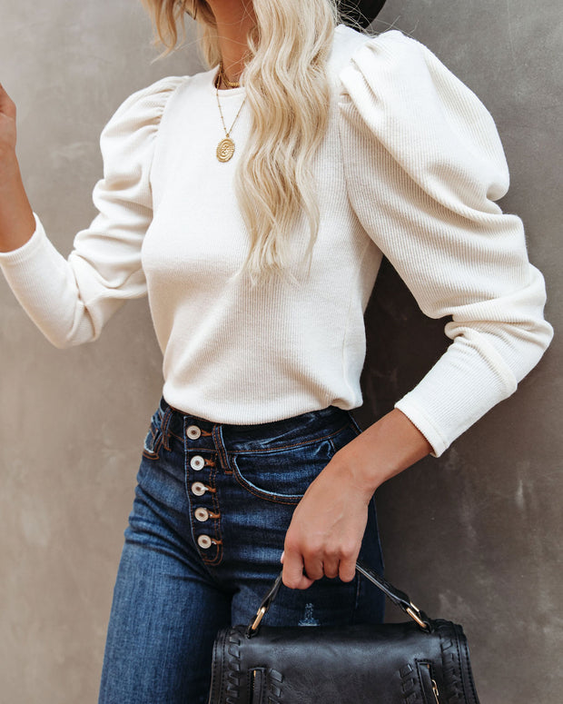 Chivalry Puff Sleeve Ribbed Knit Top - Ivory