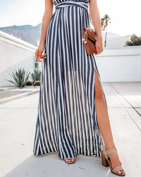 Choppy Waters Striped Halter Maxi Dress