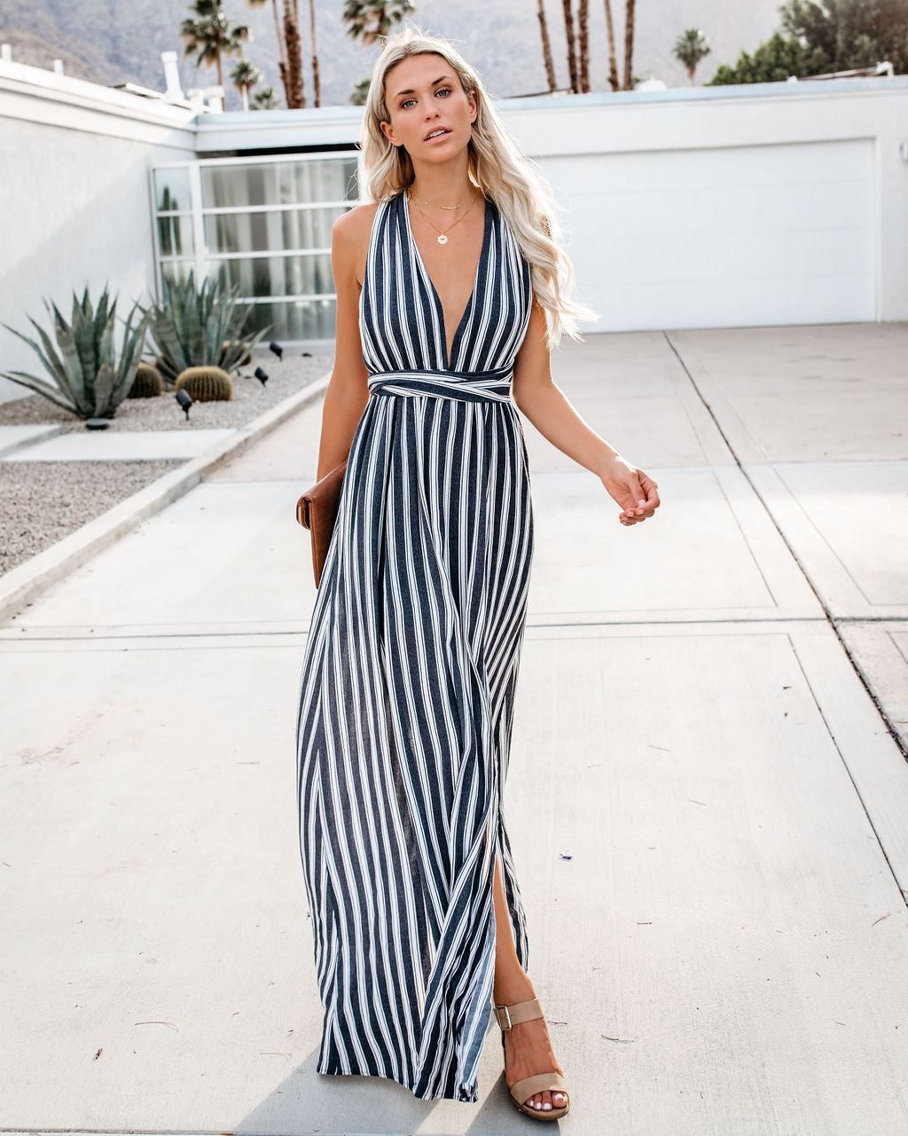 9f677f0b792 Choppy Waters Striped Halter Maxi Dress – VICI
