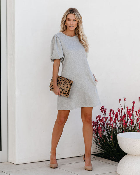City Block Pocketed French Terry Puff Sleeve Dress