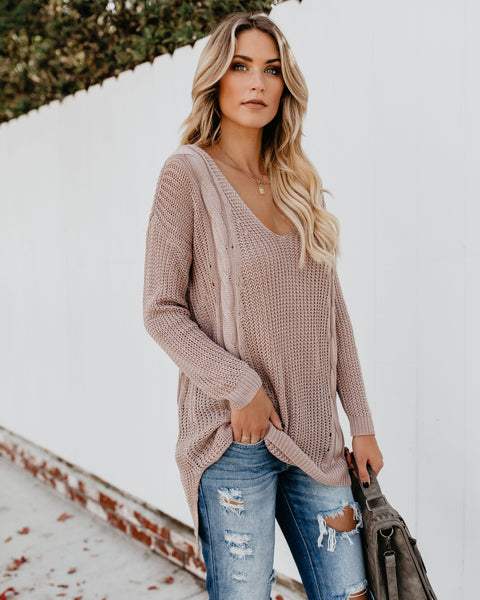 City Girl Cable Knit Sweater - Mauve - FINAL SALE