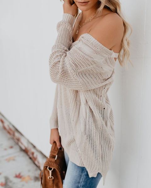City Girl Cable Knit Sweater - Natural - FINAL SALE