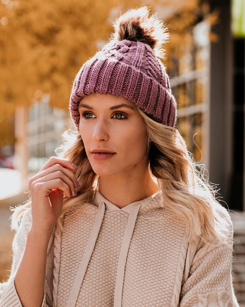 City Nights Faux Fur Pom Beanie - Mauve