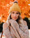 City Nights Faux Fur Pom Beanie - Mustard