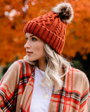 City Nights Faux Fur Pom Beanie - Rust