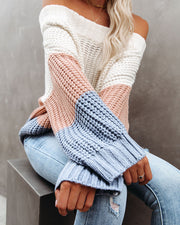 City Of Angels Off The Shoulder Colorblock Sweater