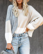 City View Colorblock Balloon Sleeve Sweater